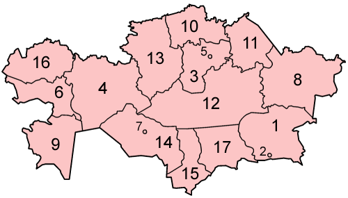 Map of the provinces of Kazakhstan in alphabetical order.