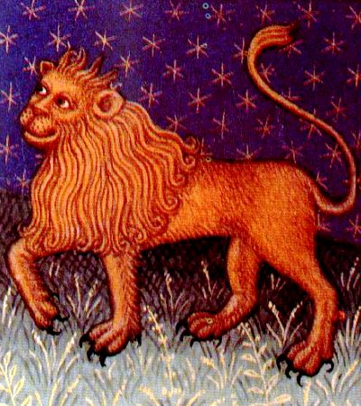 An image of Leo, second of the fire signs of the Zodiac, from a 15th century Book of Hours.