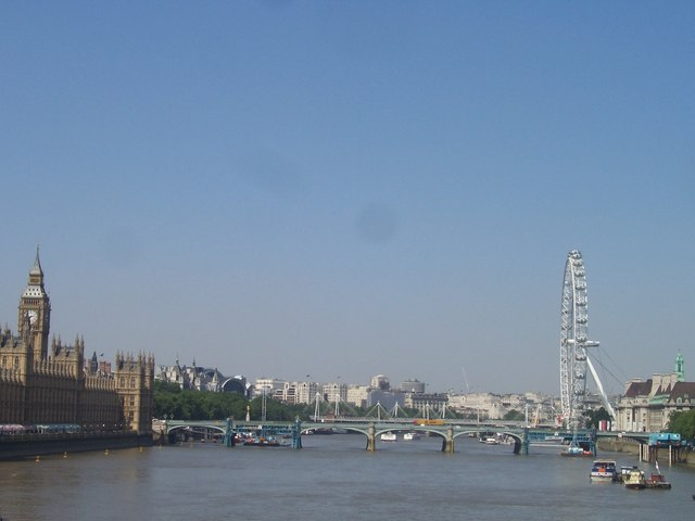 London , Westminster - River Thames, Westminster Bridge, Houses of Parliament and London Eye - geograph.org.uk - 1225410