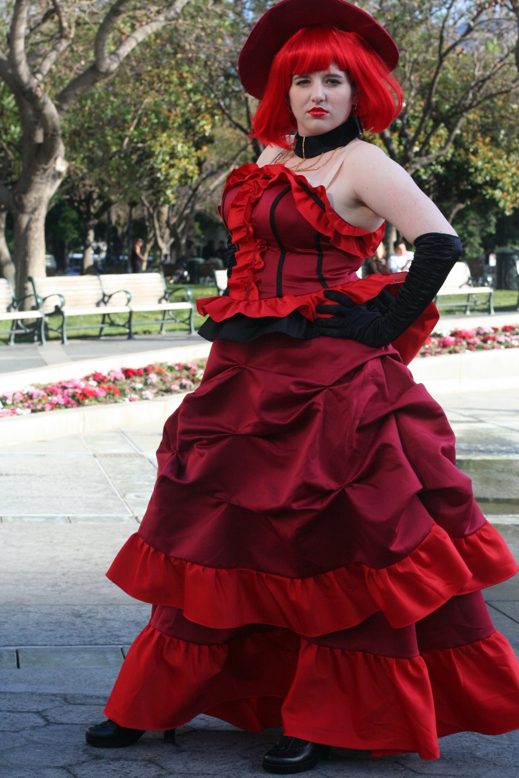 Red and black party dresses for women