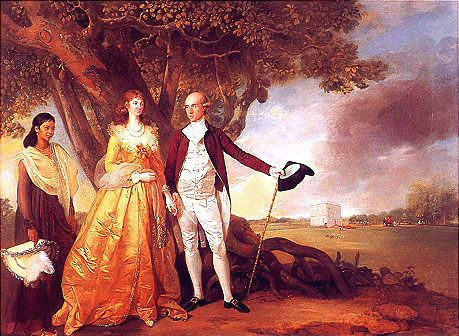 Warren Hastings with his wife Marian in their garden at Alipore, c. 1784-87 Mrshestings.jpg