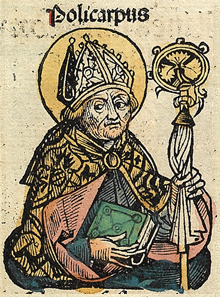 Polycarp in the Nuremberg Chronicle Nuremberg chronicles f 114r 1.png