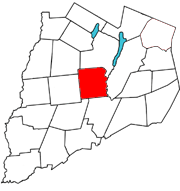 Otsego County map with the Town of Hartwick in Red