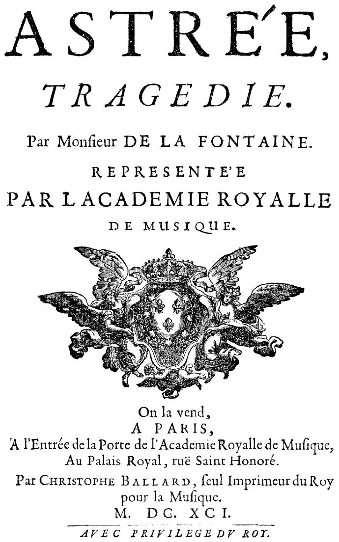 Datei:Pascal Collasse - Astrée - titlepage of the libretto - Paris ...