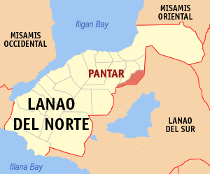 Map of Lanao del Norte showing the location of Pantar