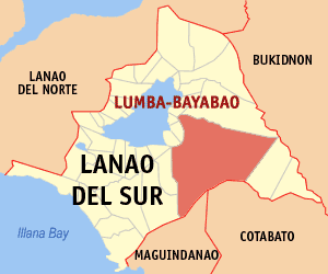 Map of Lanao del Sur showing the location of Lumba-bayabao