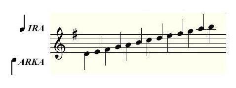 Reparto de notas en un siku bipolar típico.