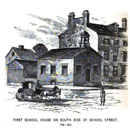 Boston Latin School House 1748-1810 on School Street Boston MA.