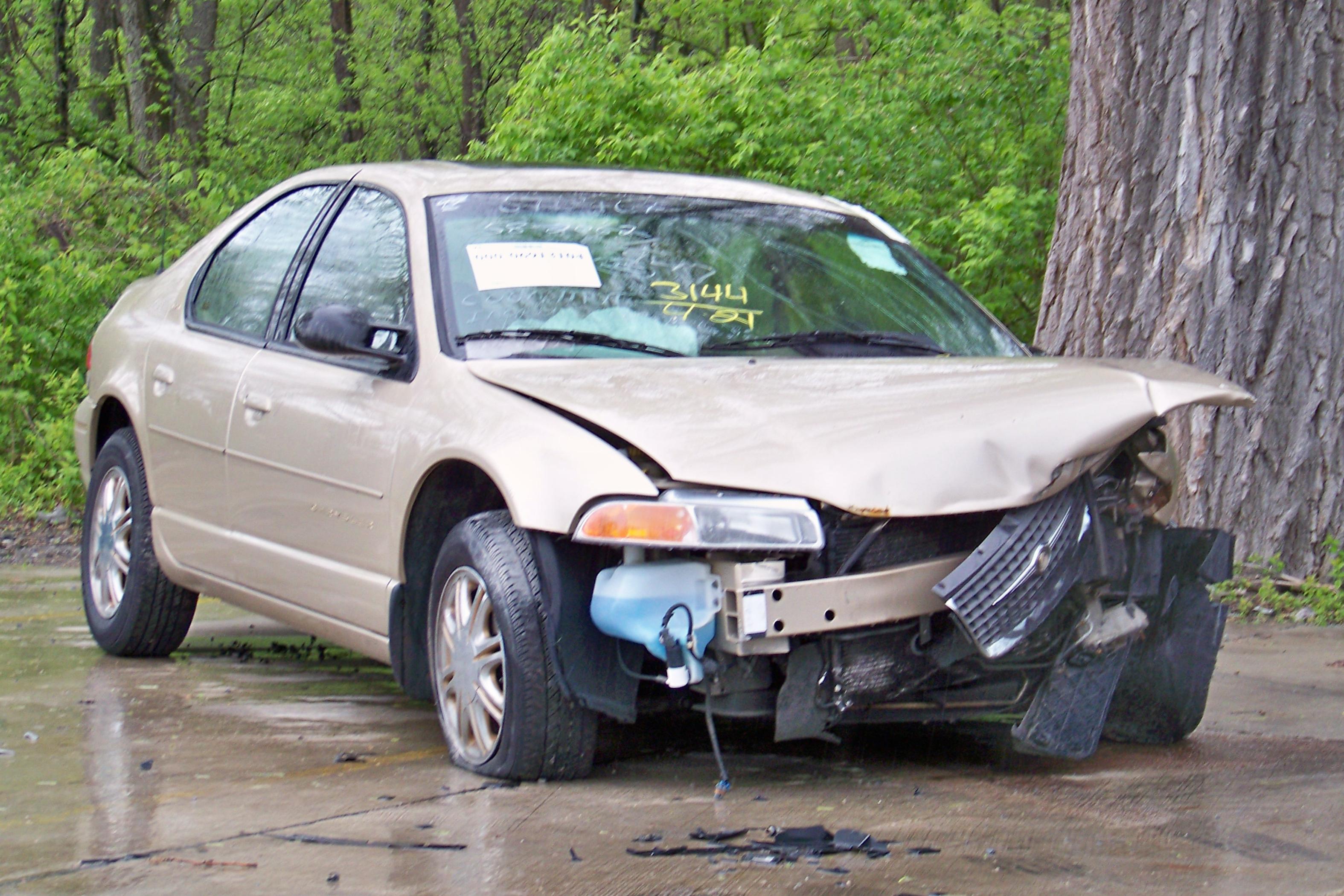 A damaged robot car