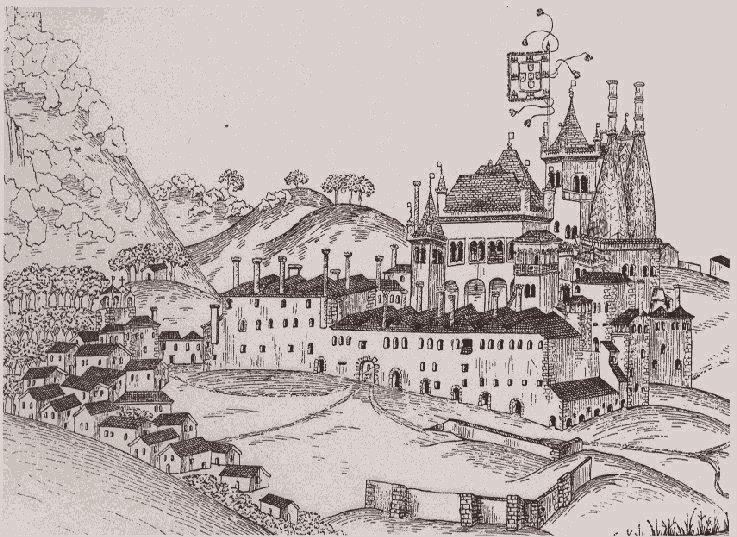 Dessin du palais Royal de Sintra en 1509.