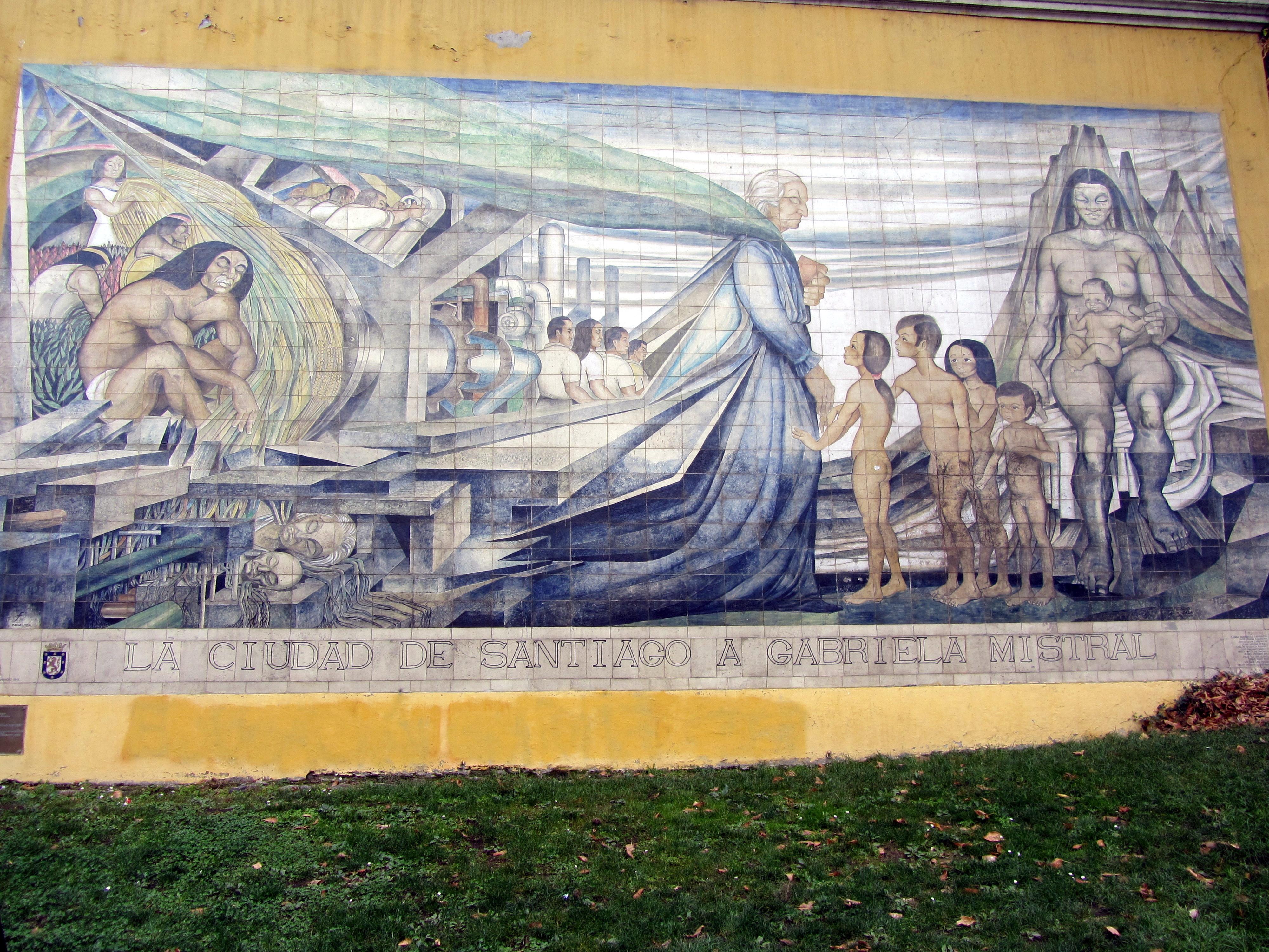 Mural en cerámina de Fernando Daza, ubicado en las faldas del costado sur del Cerro Santa Lucía, creado en 1971, y restaurado en 1997.