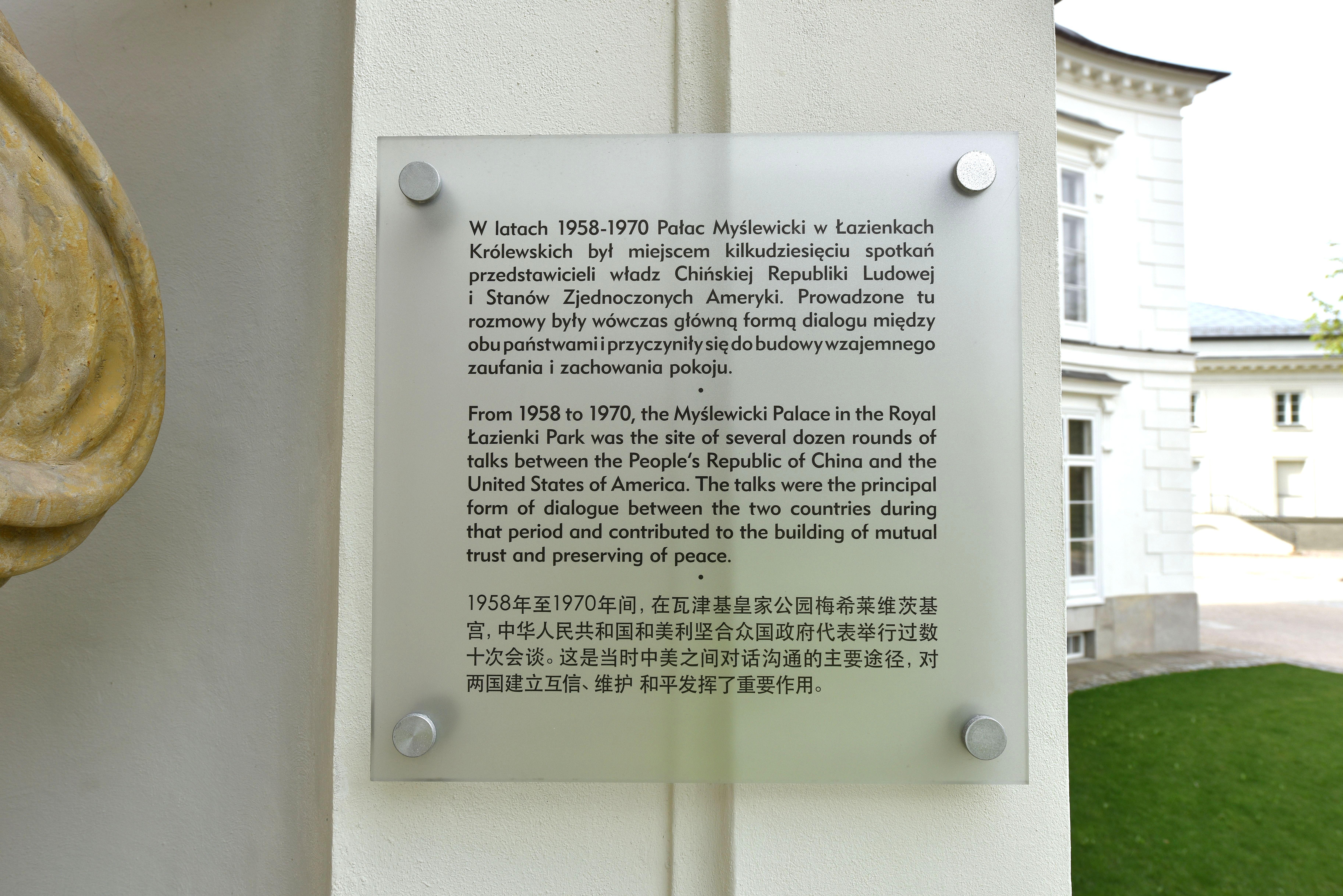 Pliktablica Pałac Myślewicki łazienki Królewskie W