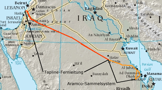 TransArabian Pipeline Wikipedia - Us pipeline 1950 map