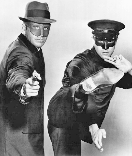 Photo of Van Williams as the Green Hornet and Bruce Lee as Kato from the television program The Green Hornet.