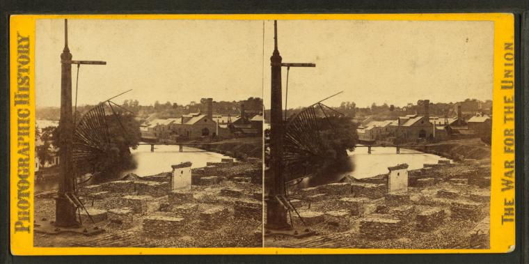 File:View of the Tredegar Iron Works, from the Petersburgh railroad bridge, Richmond, Va, by Gardner, Alexander, 1821-1882.jpg