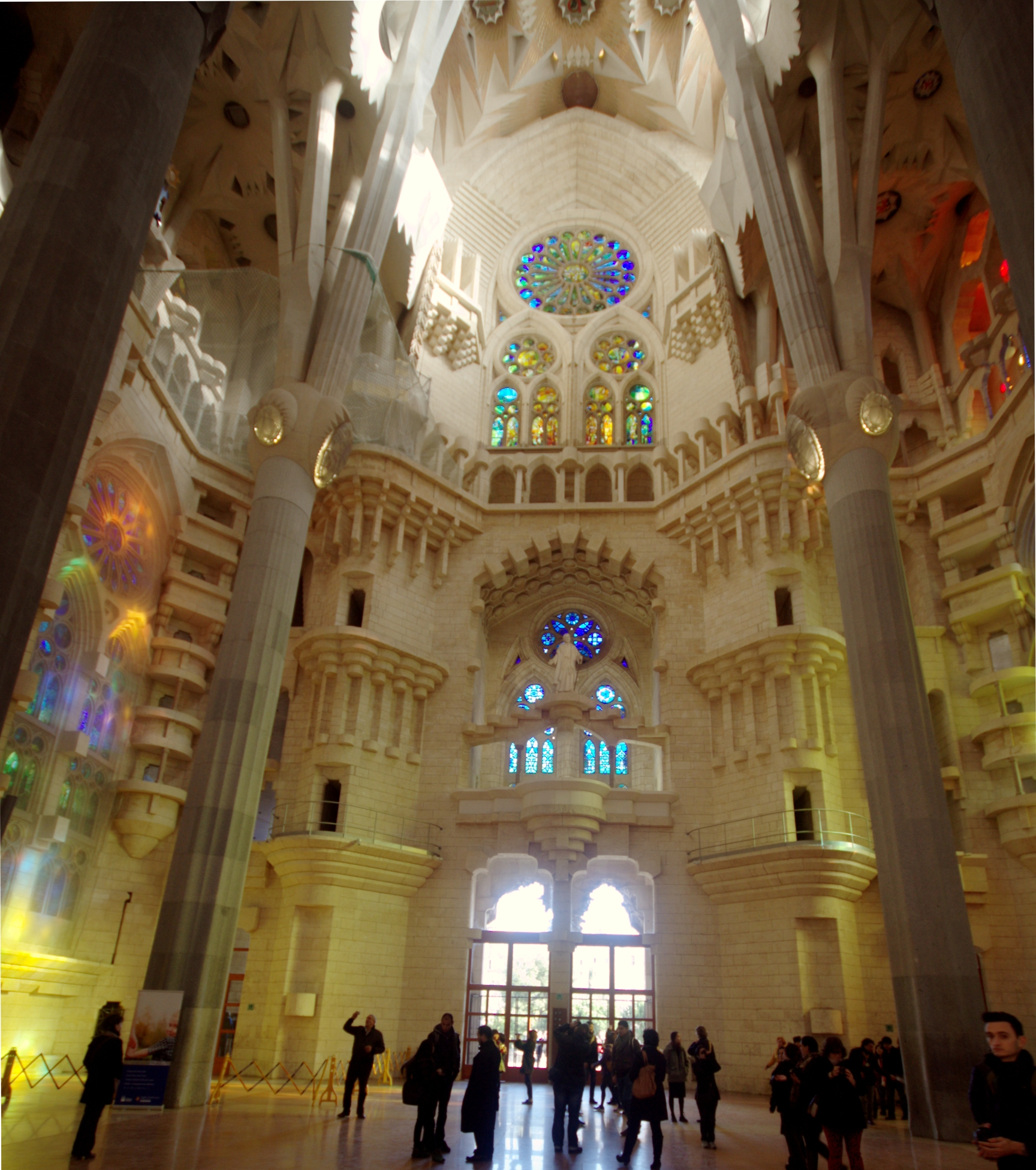 file view of the transept towards the nativity facade interior of sagrada fam lia barcelona. Black Bedroom Furniture Sets. Home Design Ideas