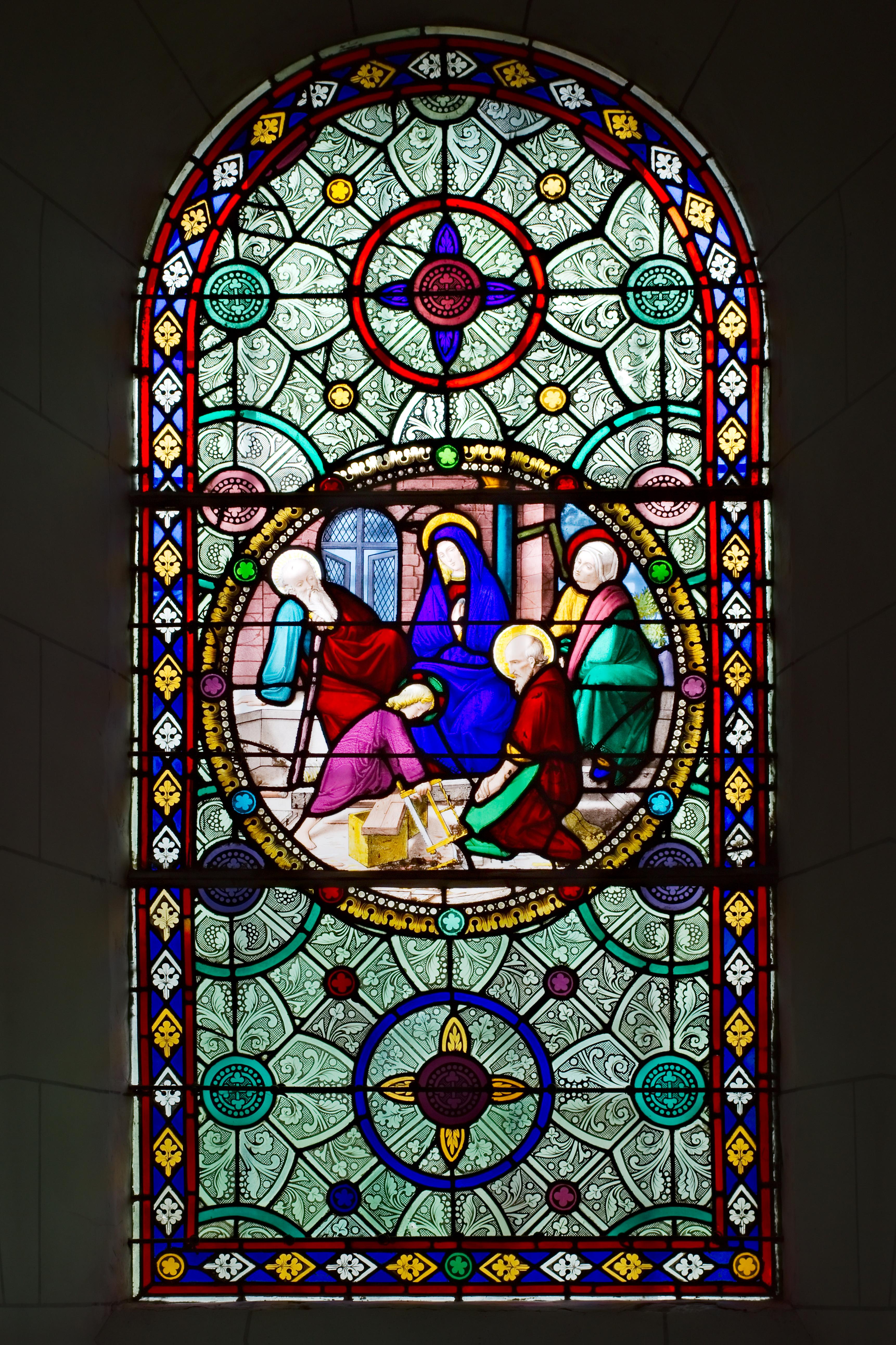 Fichier vitrail repr sentant l enfance de j sus la sainte famille dans l glise saint sulpice - Symbole representant la famille ...