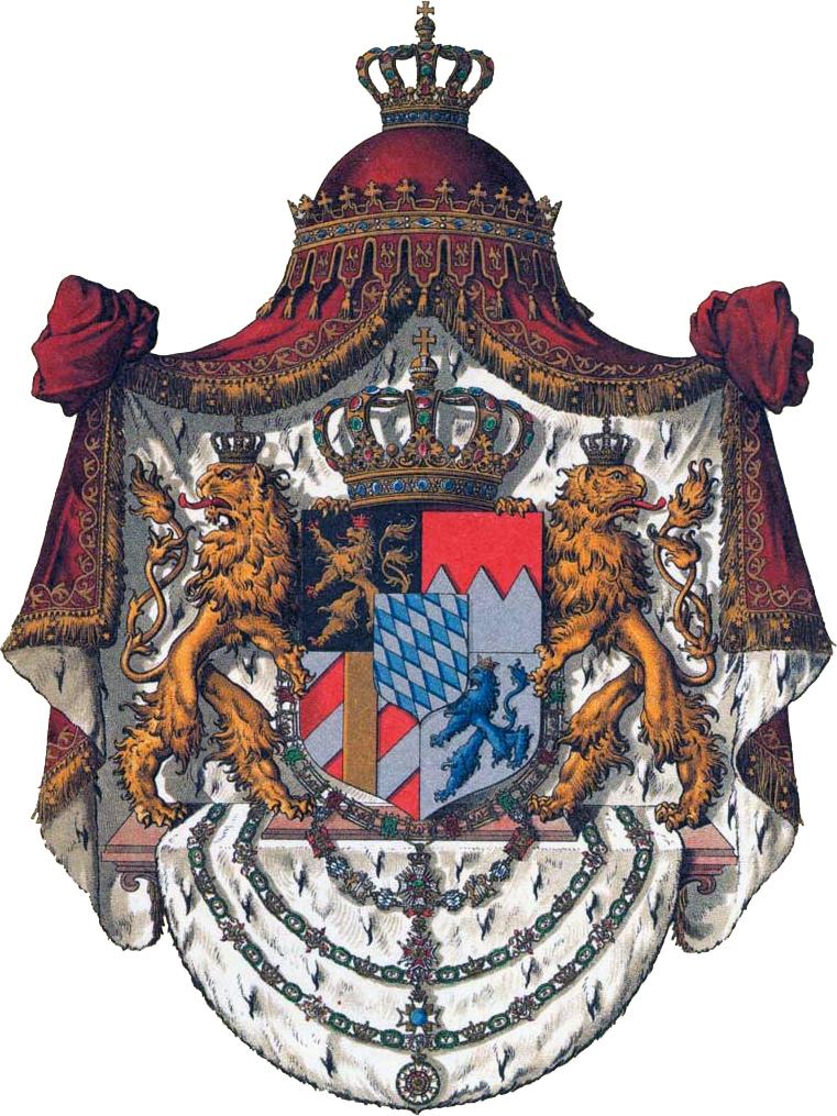 Armoiries des rois de Bavière, représentant deux lions tenant un bouclier au couleur de différentes régions de la Bavière