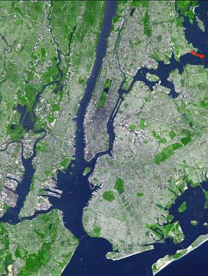The geographic feature Throggs Neck, shown in red, in the Bronx Wpdms terra throgs neck.jpg