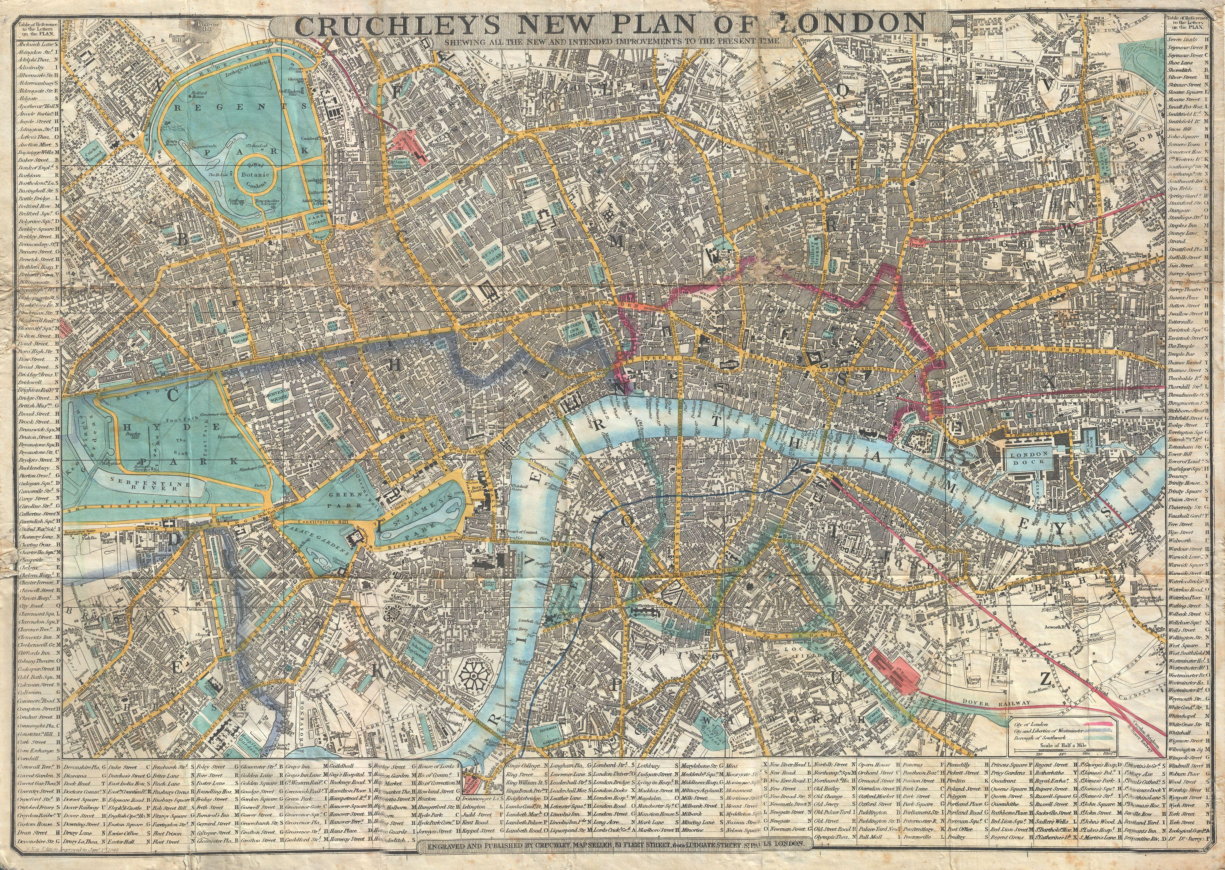 Map Of London England And Surrounding Area.File 1848 Crutchley Pocket Map Or Plan Of London England
