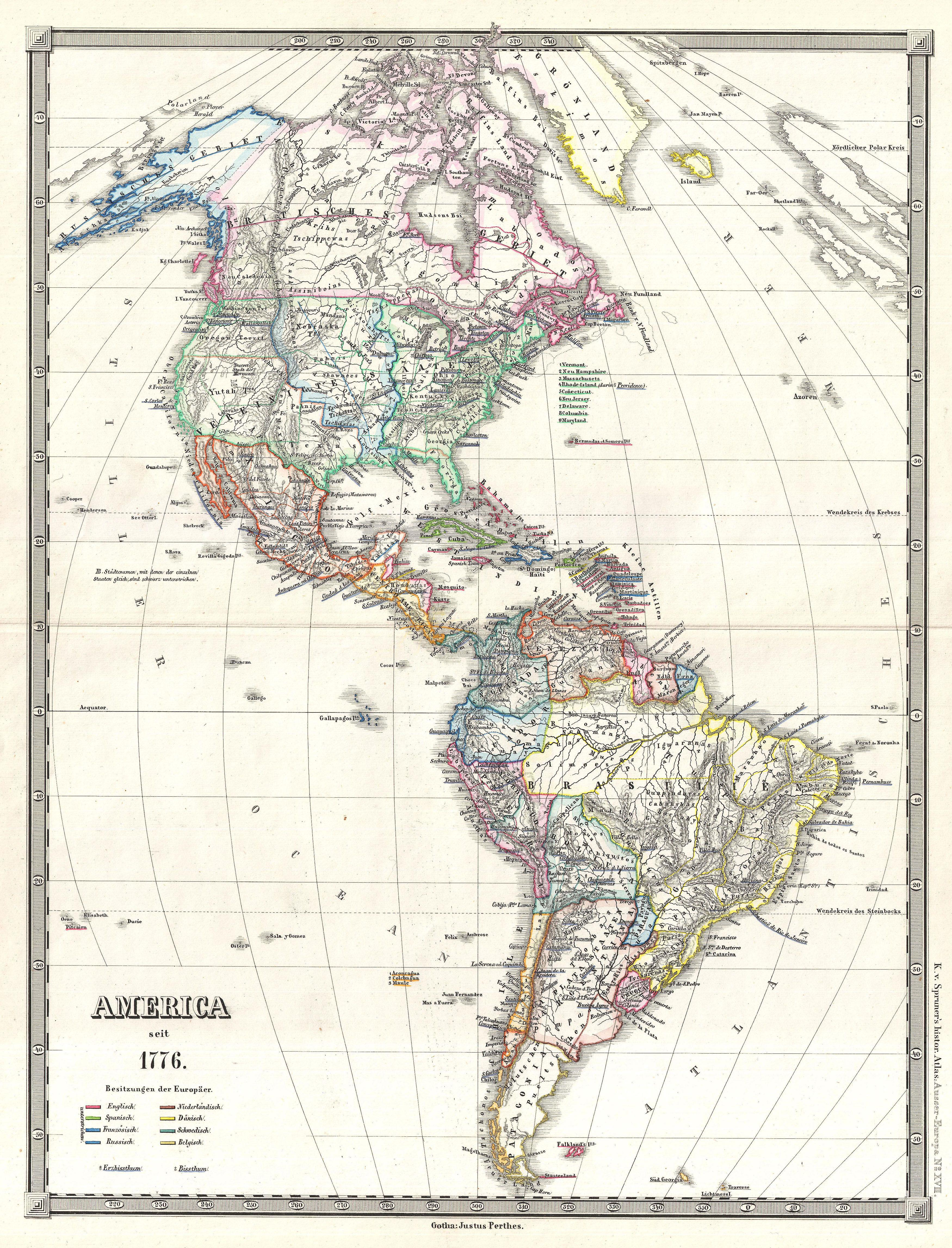 americas political map with File 1855 Spruner Map Of The Americas Since 1776   Geographicus   Americasseit1776 Spruner 1855 on Stock Illustration Colorful Americas Political Map likewise Ecuador together with Americas Caps Quiz together with Index further Americas Micronesia Problem.