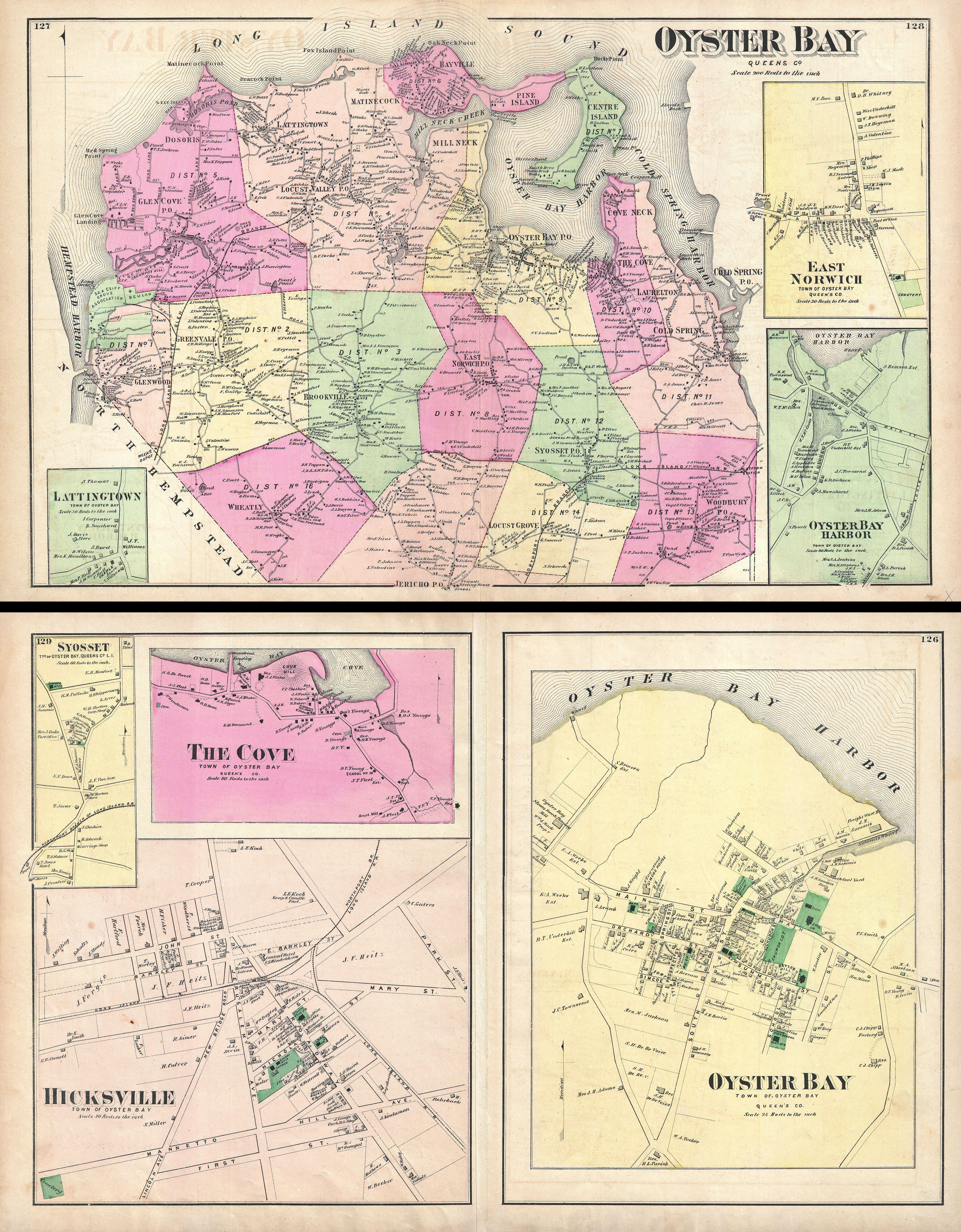 File1873 Beers Map Of Oyster Bay And Hicksville Long