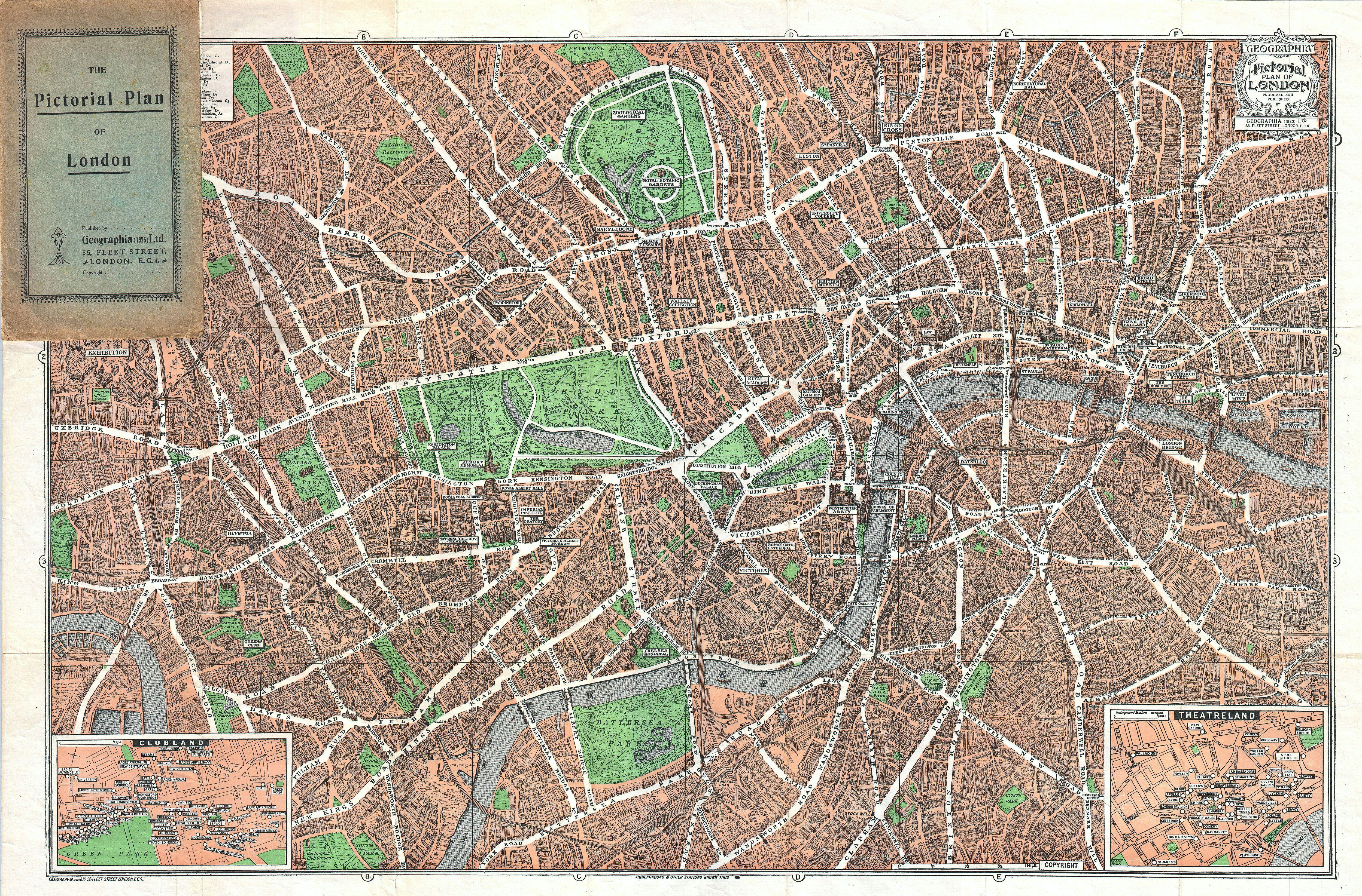 Map Downtown London.File 1923 Geographica Pocket Map Of London England Geographicus