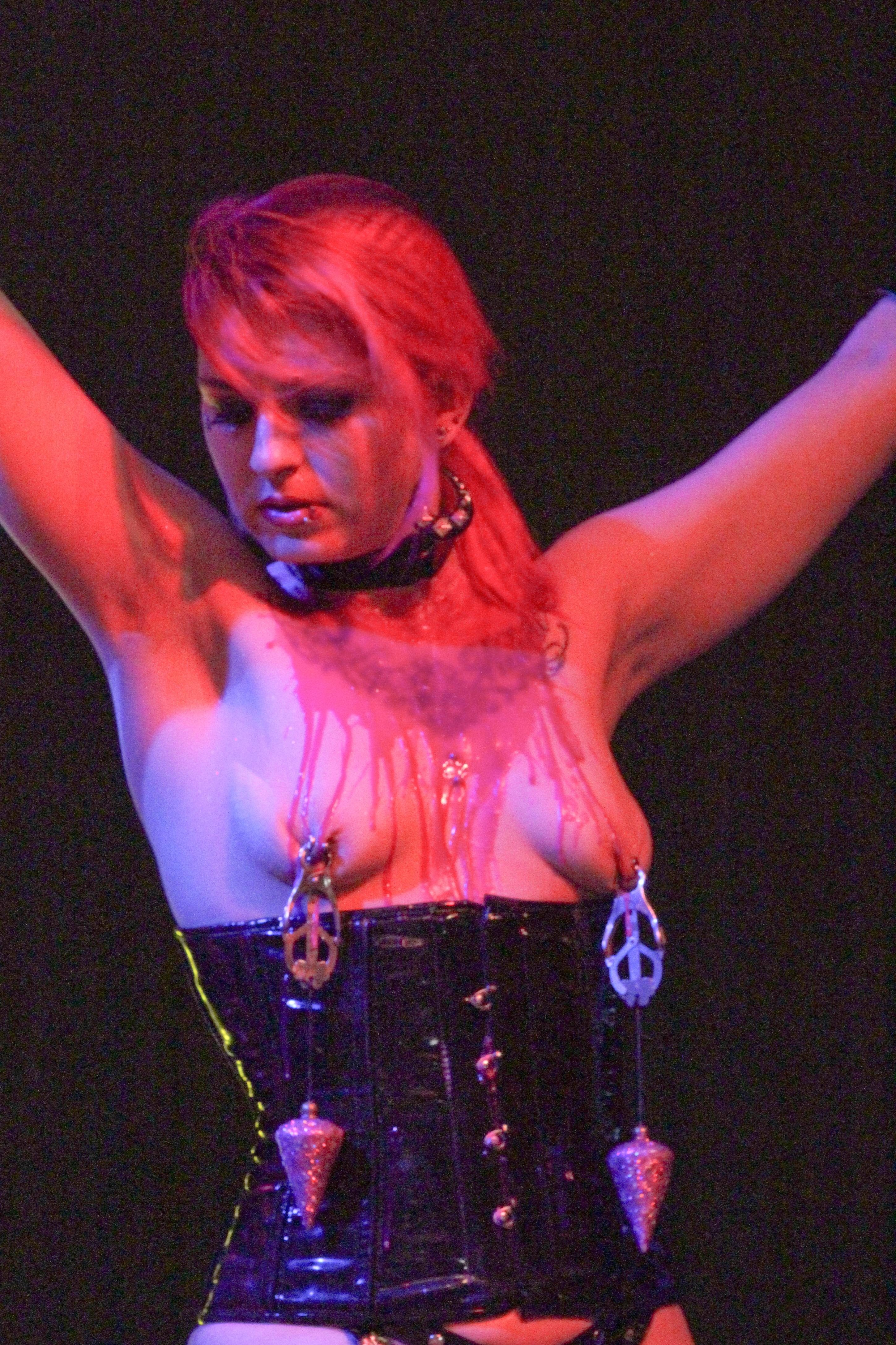 Bdsm play date for shackled brunette and master