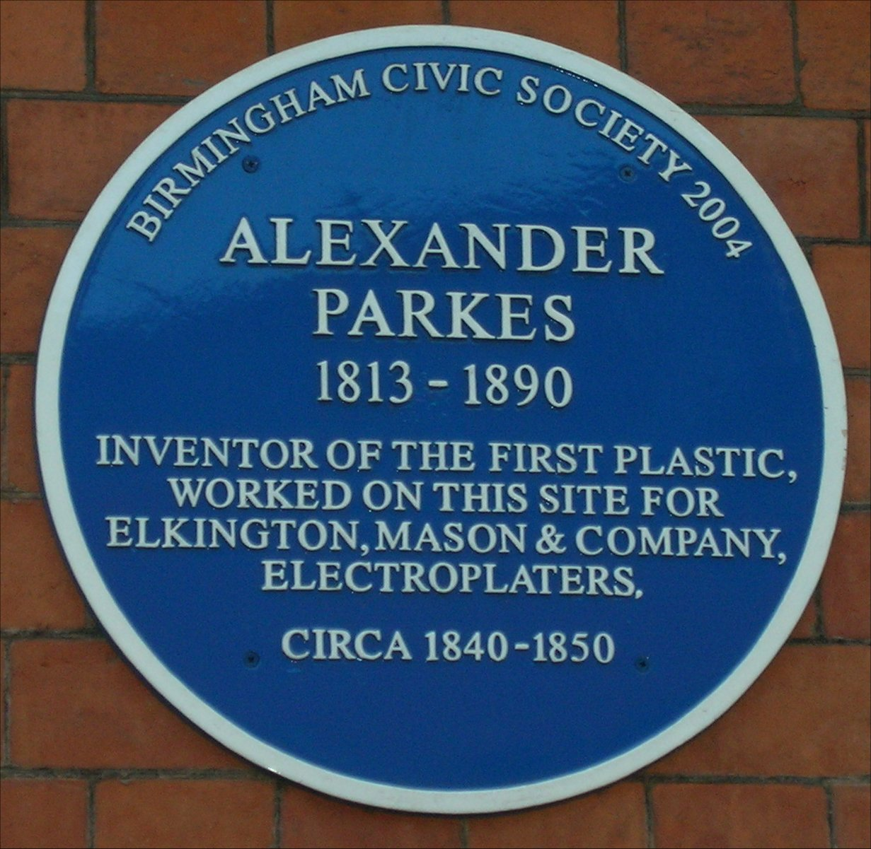 Plaque to Alexander Parkes the inventor of Parkesine