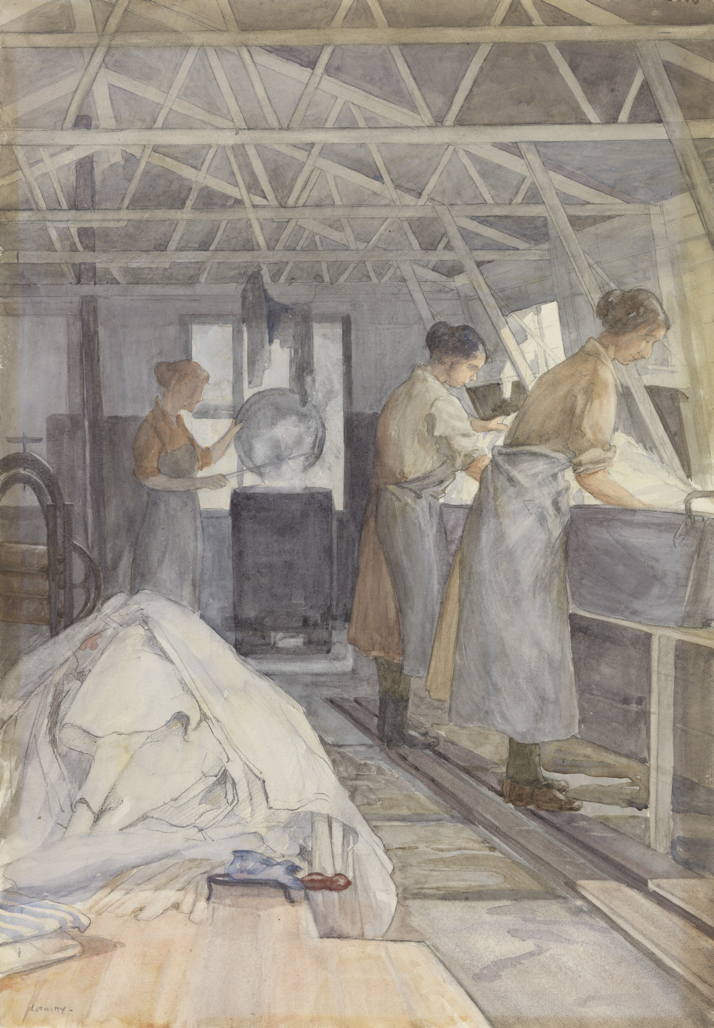 An Improvised Laundry - Princess Beatrice Camp Beaumarais, Calais by Beatrice Lithiby (OBE) [Public domain], via Wikimedia Commons