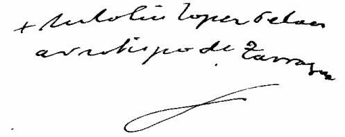 Antolín López Peláez, firma