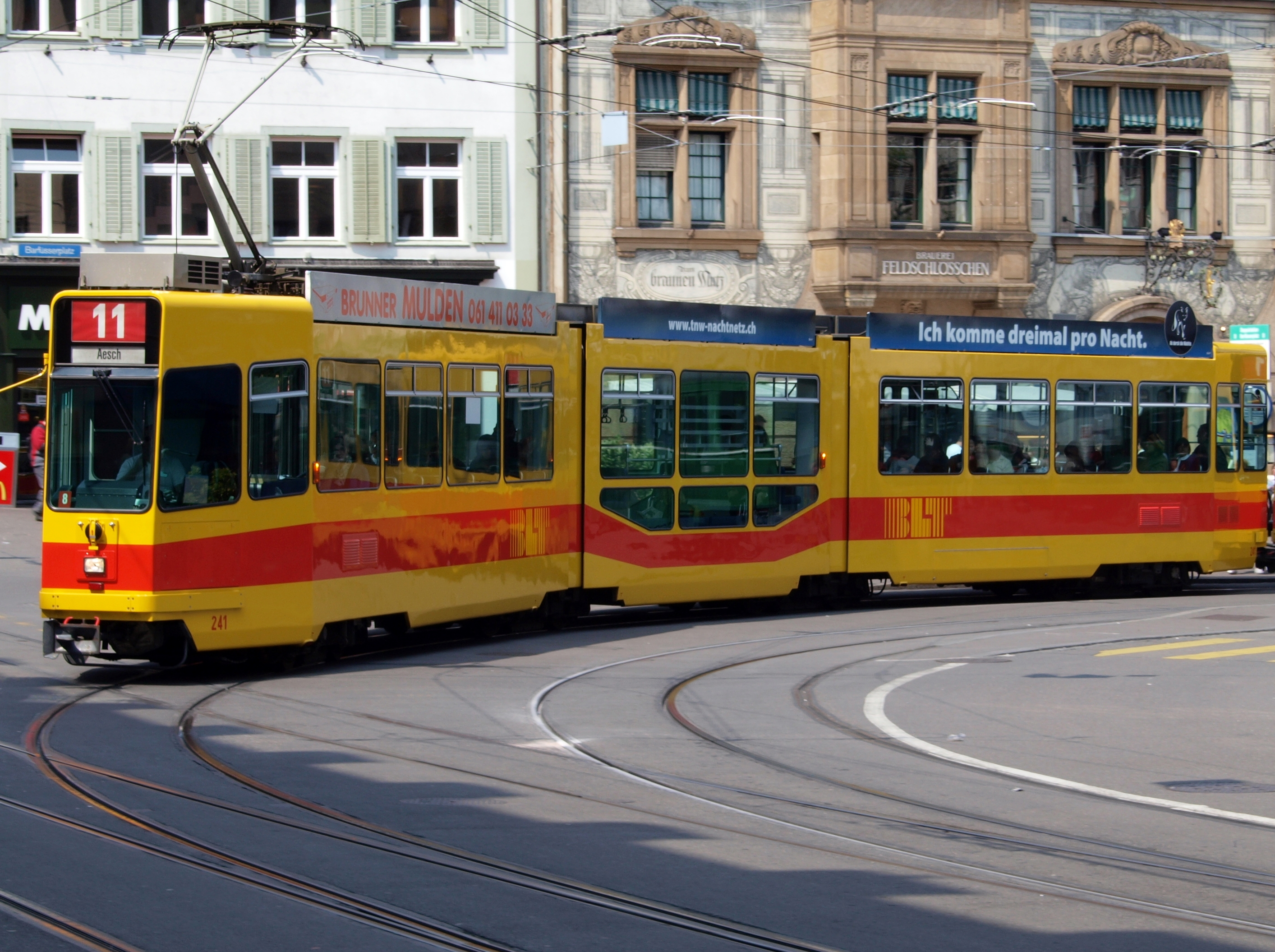 2 Person Car >> File:BLT Tram car 241, line 11 towards Aesch at Basel, Switserland.JPG - Wikimedia Commons