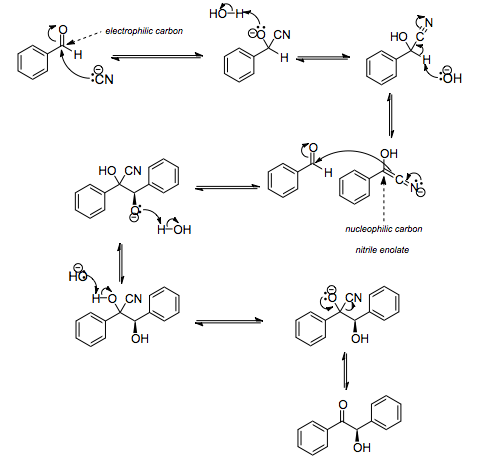 Mechanism of the benzoin condensation