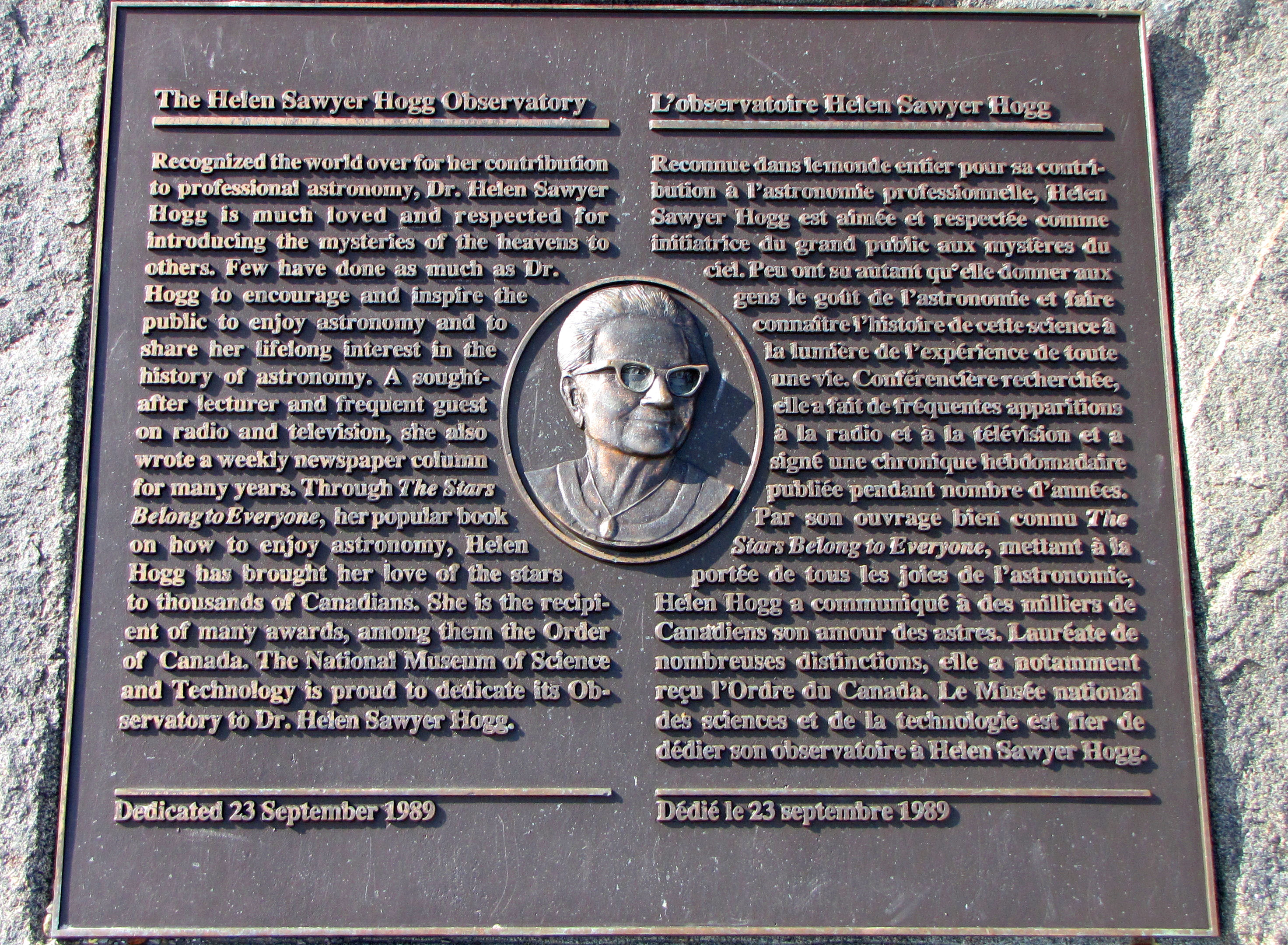 Plaque to Helen Sawyer Hogg at [[Canada Science and Technology Museum]]