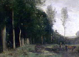 Paisaje boscoso visto desde un pueblo
