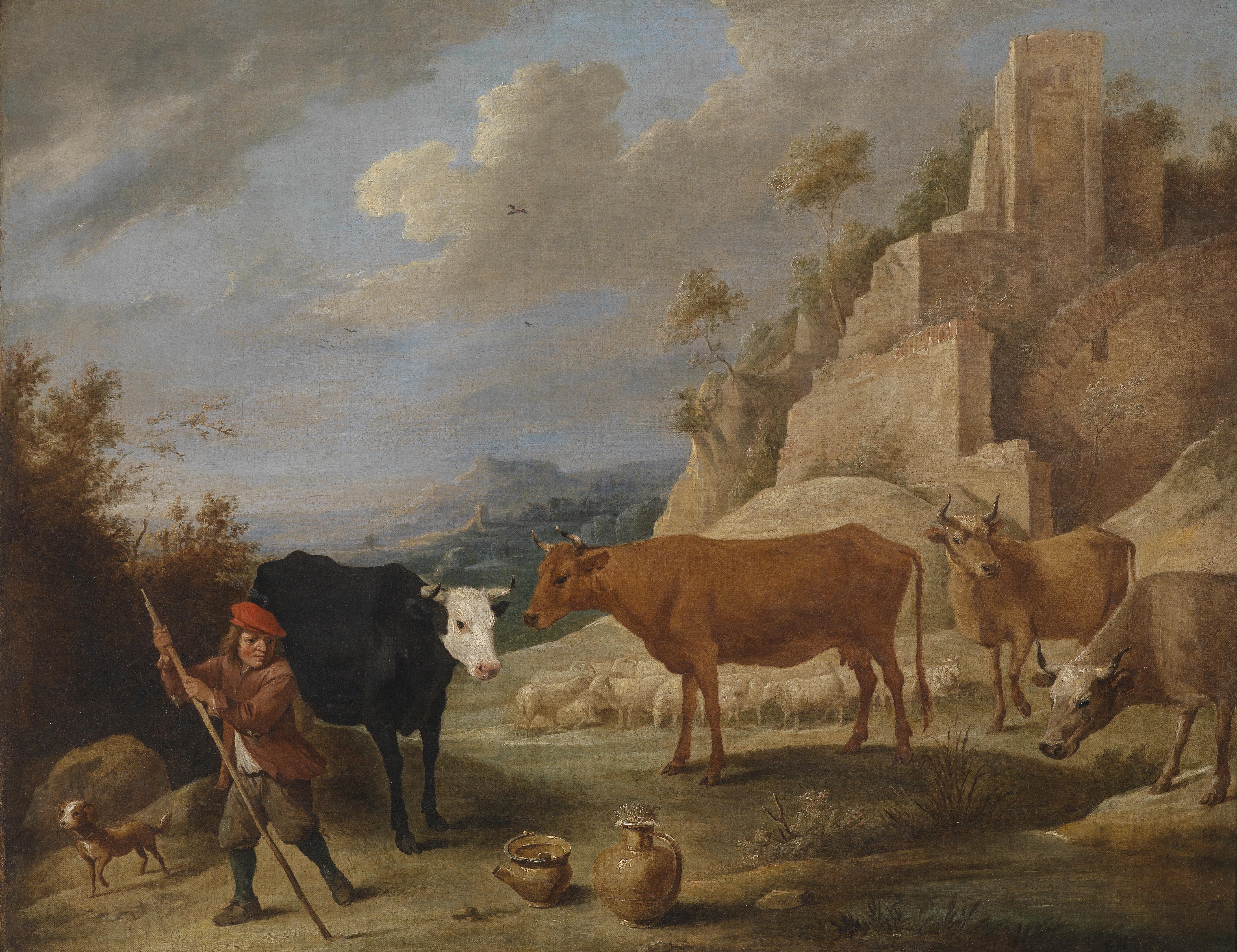 File:David Teniers dJ Hirt mit seiner Herde in einer Landschaft ... | {Herde 54}