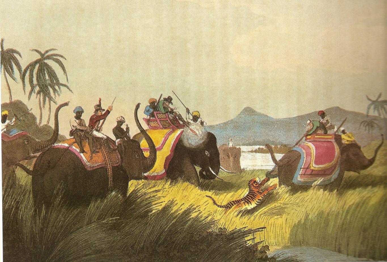 igerhuntingonelephant-back,ndia,1808