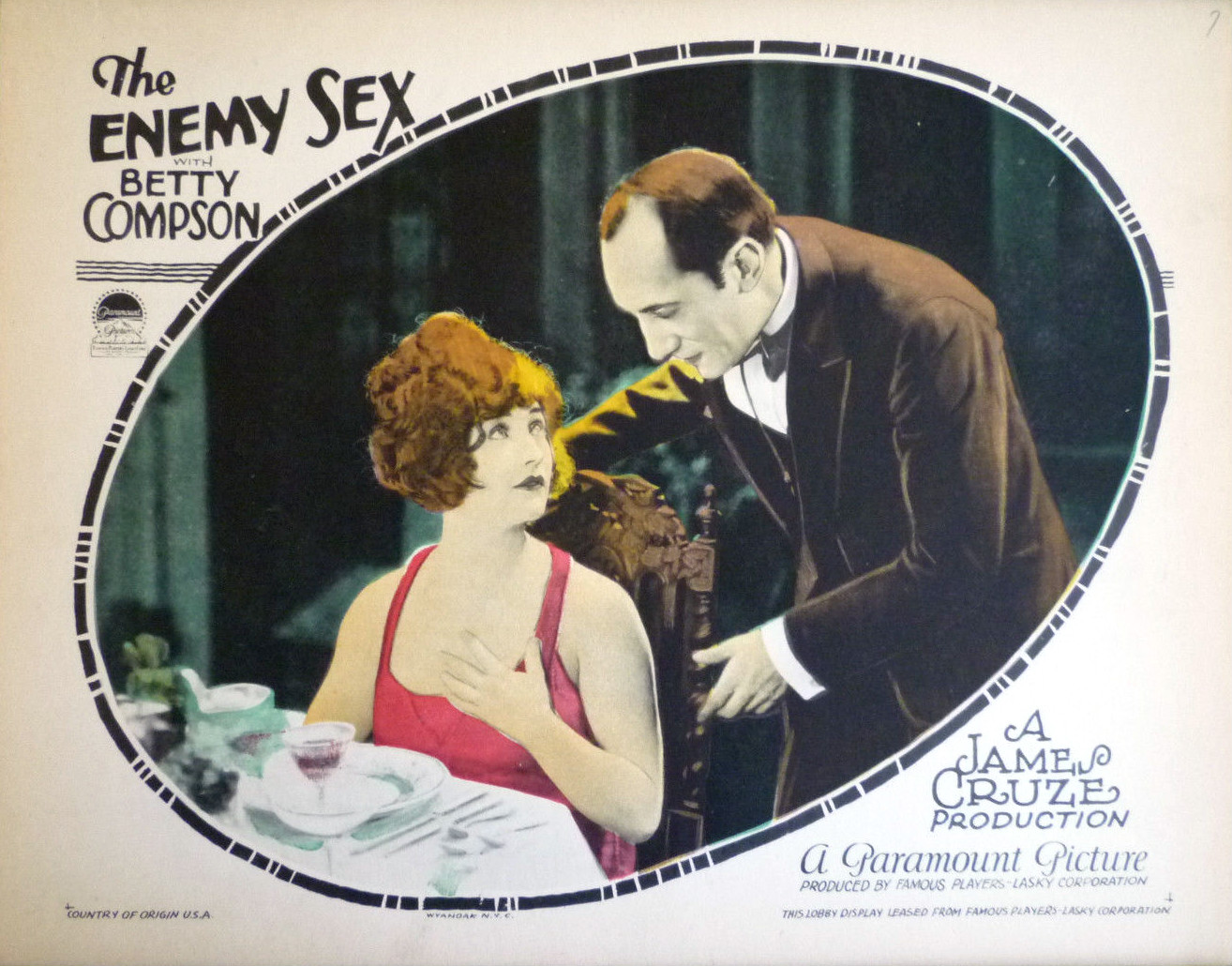 Enemy Sex lobby card 2.jpg English: Lobby card for the American drama film The Enemy Sex (1924). Date 1924 Source source eBay Author Paramount