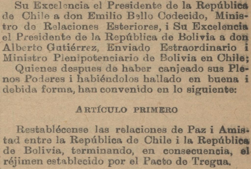 Depiction of Tratado de 1904 entre Chile y Bolivia