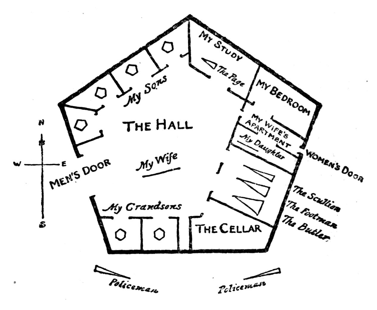 מבנה ביתו של הריבוע כפי שנגלה לעיניו בעת שטיפס לגובה לראשונה בחייו, עמוד 98 בגרסה העברית