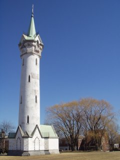 Fort Hill Tower (also known as the Cochituate Standpipe), designed by Nathaniel J. Bradlee and built in 1869 on the site of Revolutionary War fortifications