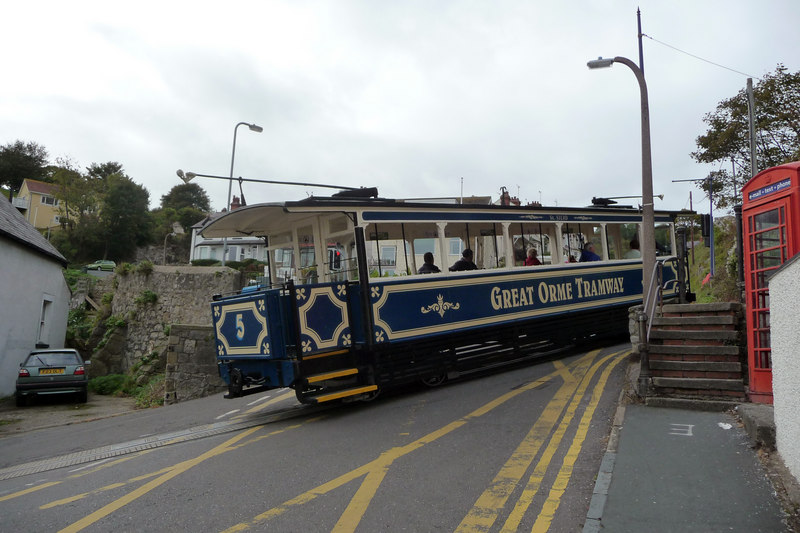 File:Great Orme Tramway - car number 5 joining Ty-Gwyn Road (geograph 2232314).jpg