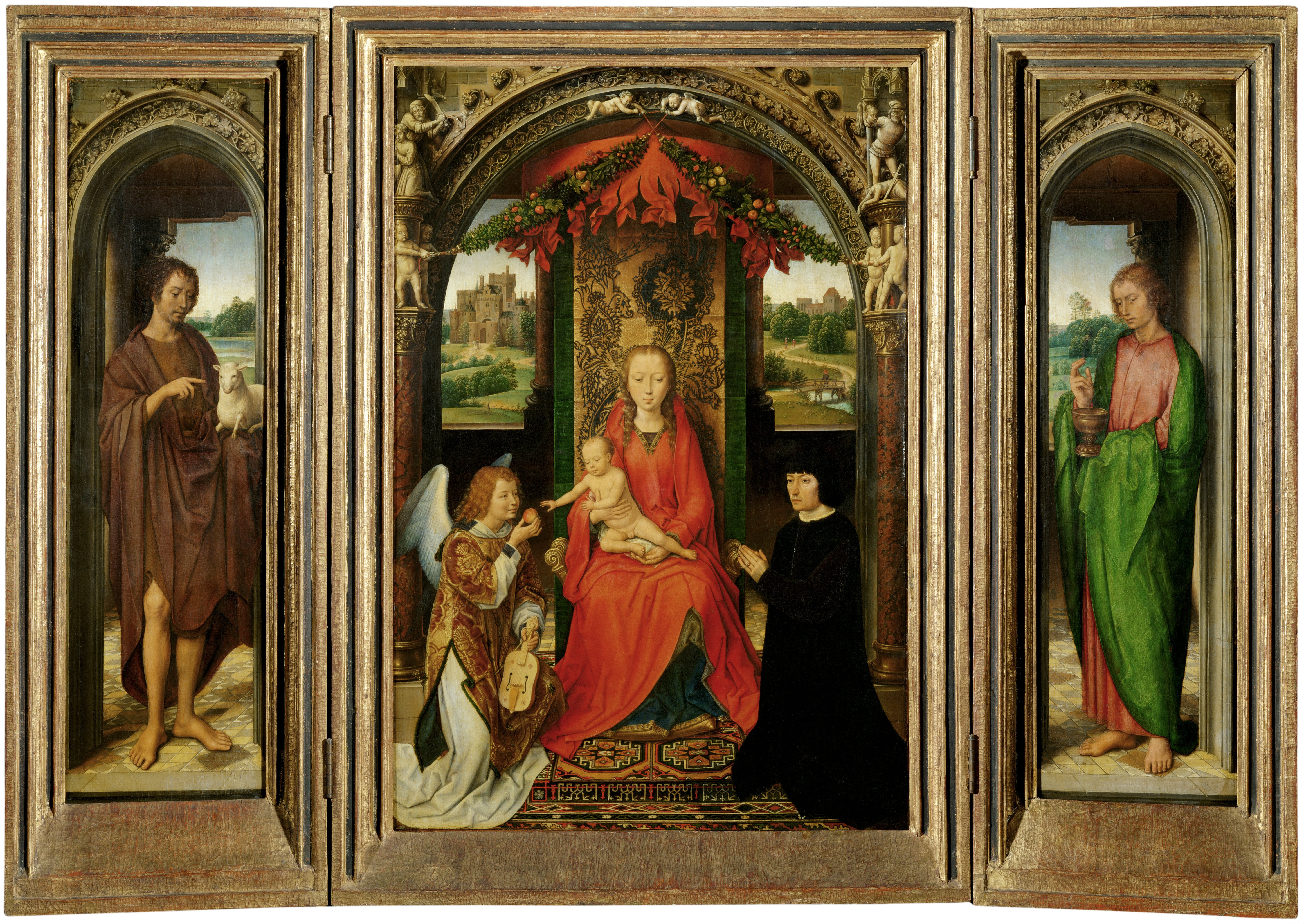 the triptych Triptych (plural triptychs) ( arts ) a picture or series of pictures painted on three tablets connected by hinges  ( philately ) a set of three se-tenant postage stamps that form a composite picture.