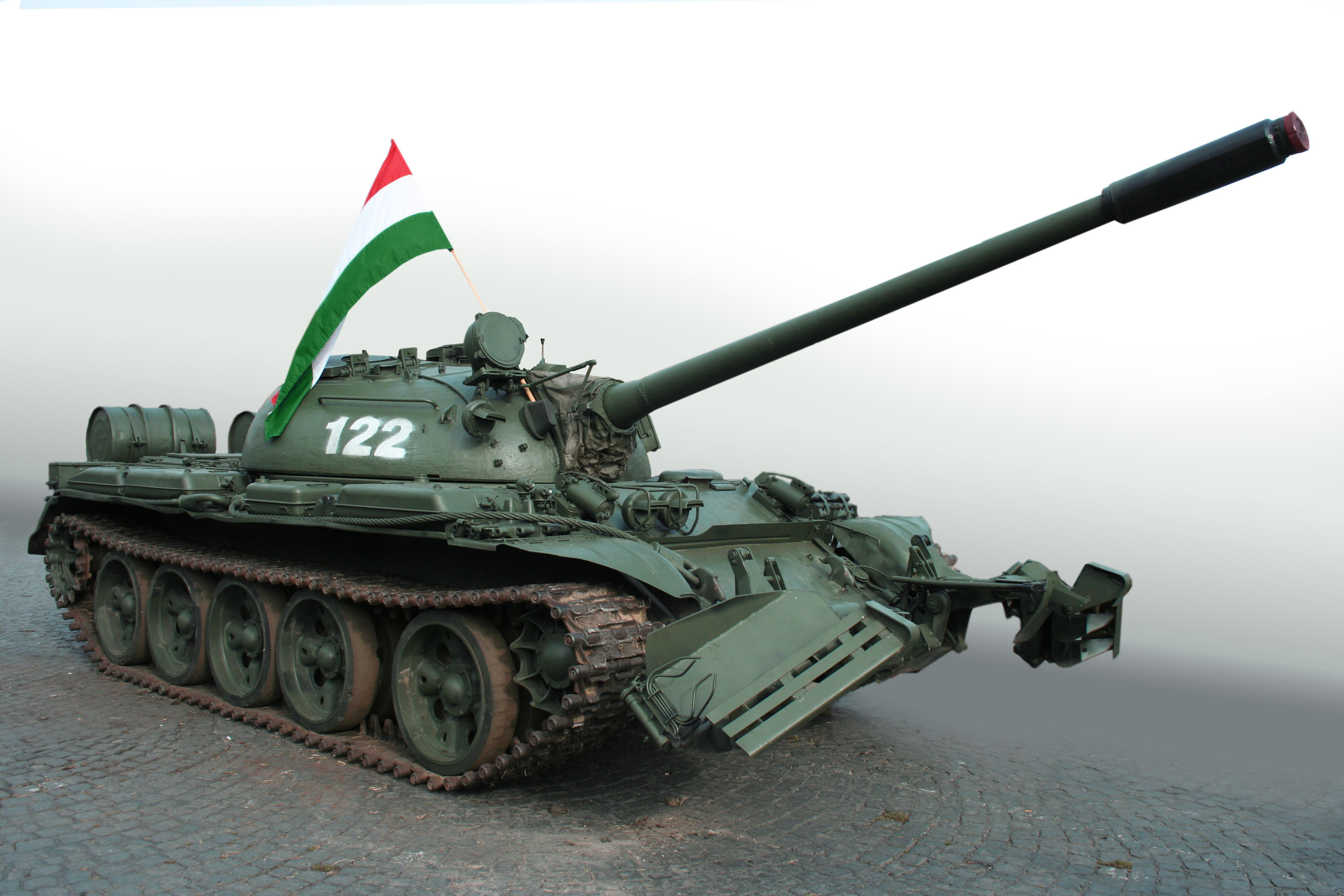 Hungarian Revolution, October 1956 - Sovjet tank with Hungarian flag