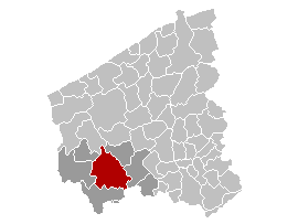 Location of Ypres in West Flanders