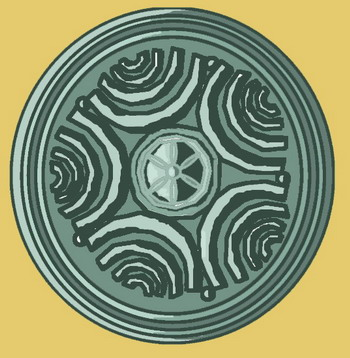 Illyrian pelte shield 35 cm diameter (sketch)