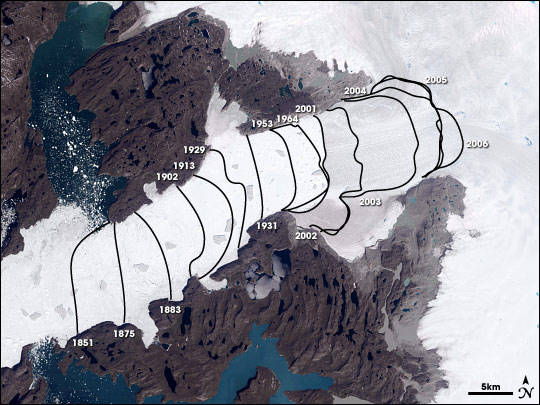 Retreating calving front of the Jacobshavn Isbrae glacier in Greenland from 1851–2006. NASA in 2007.