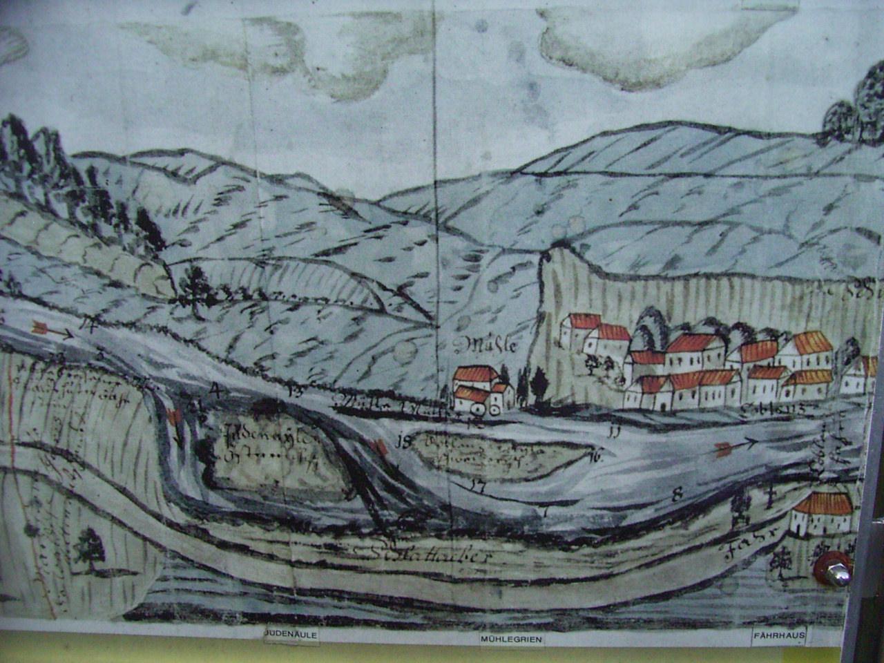 Judenäule und Nachbarinsel Grien (Mühlegrien) mit Blick auf Koblenz (um 1750).Die Pfeile markieren das Fahrwasser für die Weidlinge(Generallandesarchiv Karlsruhe)Norden ist unten