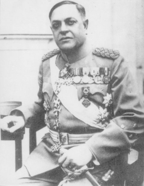 black and white photograph of a man in military uniform