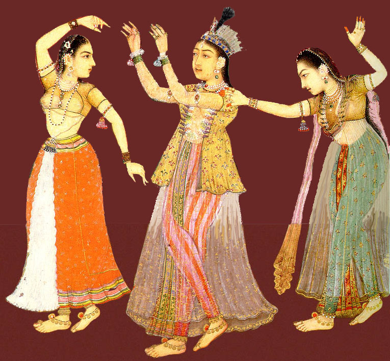 Dancing Moghul women. From Auguste Racinet's Le Costume Historique, France. Image credit: Wikipedia Commons.